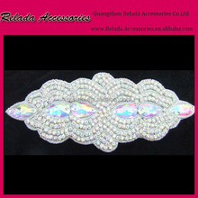 Vintage Motif AB Rhinestone Crystal Beads Rhombus Wedding Bridal Applique DIY