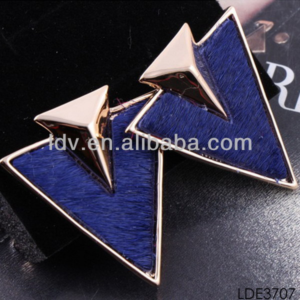 Spring 2014 new product fashion earring royal blue triangle arrow shape charm earring evening costume jewelry