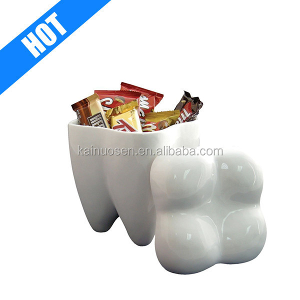 white color glazed ceramic decorative tooth cookie jar for sale