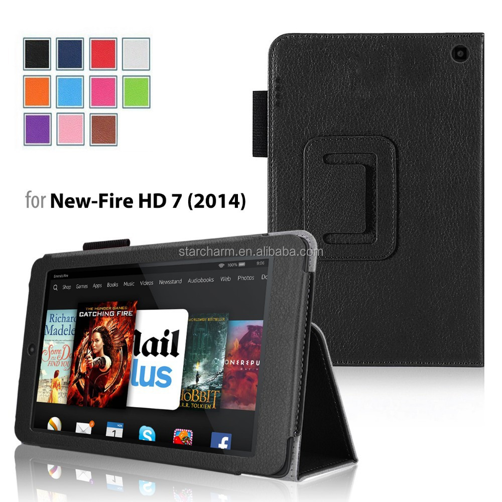 7 inch Anti-shock flip stand letaher case for Kindle Fire HD 7 2014