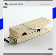 popular custom logo cheap promotion gift Wooden clamp shape usb flash memory