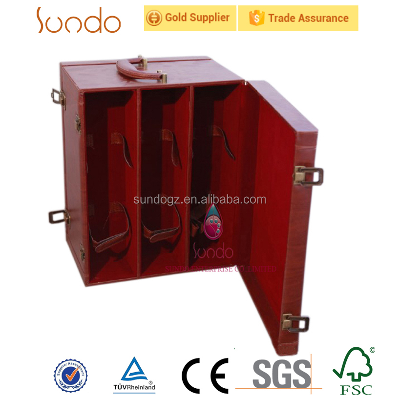 3 bottle wooden red wine tool box packing carrier