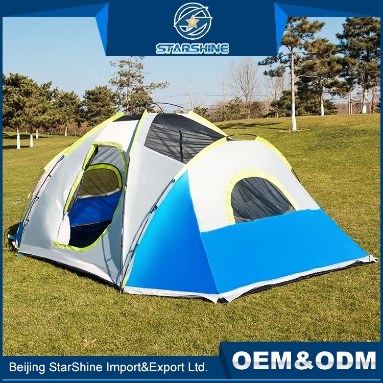 Factory Wholesale 8-10 People Huge Camping Tents Double Rooms One Hall Kids Picnic Camping Tent