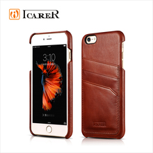 ICARER Genuine Leather Case For Apple iPhone 6 Plus / 6s Plus Real Leather Back Cover With Card Slot For iPhone6 4.7 / 5.5