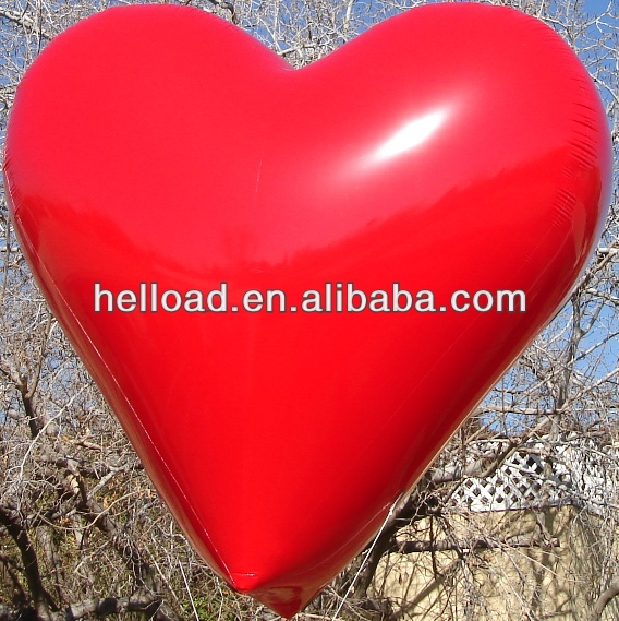 custom red large inflatable heart, helium heart shape balloon for sale
