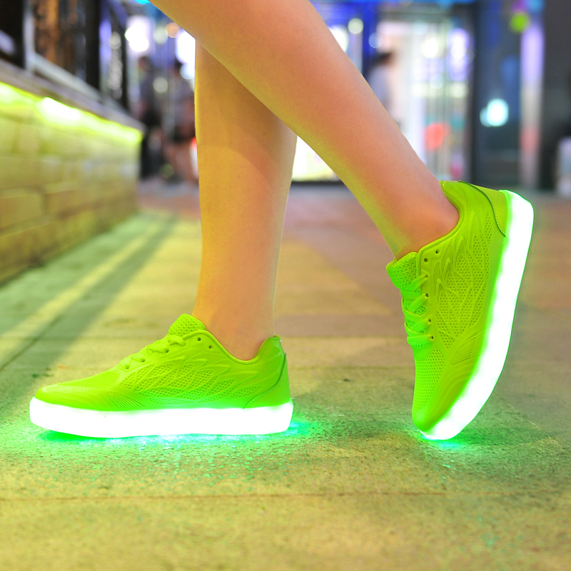 USB charging Candy colorful shoes led women casual shoes for ladies