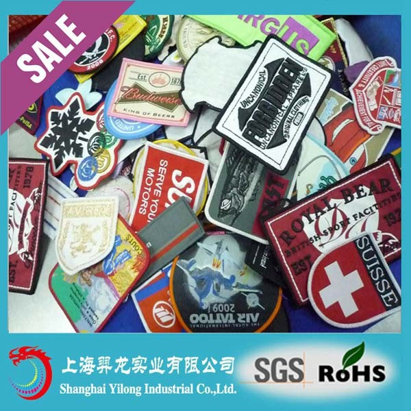 Cheapest woven label patch machine,woven label for clothing,embroidery printed patches E233