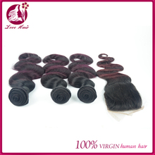 New Hot Natural 4x4 lace closure hair piece top closure #1b/99j ombre color body wave brazilian human hair with 3pcs extension