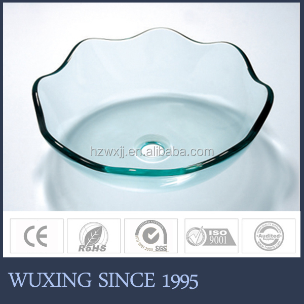 Beautuful flower countertop glass washing basin