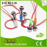 Filn IP67 small size calvitiesy motorcycle car scooters 110v 220v 6mm metal led panel pilot light 3v 6v 12v 24v with 20cm cable