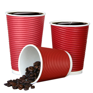 8oz 12oz 16oz ripple red black brown leakproof double wall coffee cup low price and high quality ripple paper cup coffee