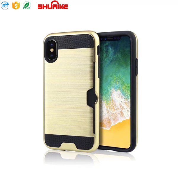 New Brush TPU PC Armor Protect Phone Case With Credit Card Slot Holder for iphone x case