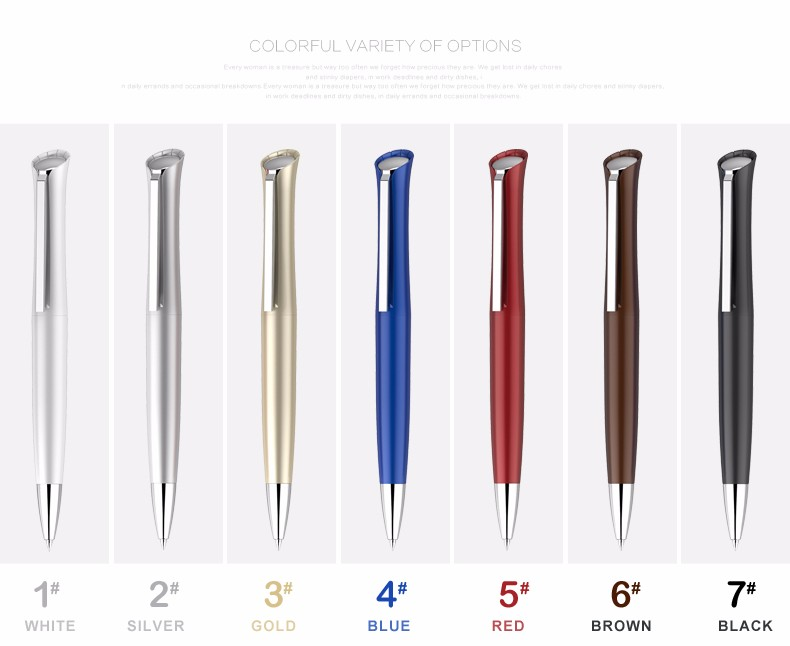 Wholesale 2017 new luxury gift metal clip logo pen for promotional