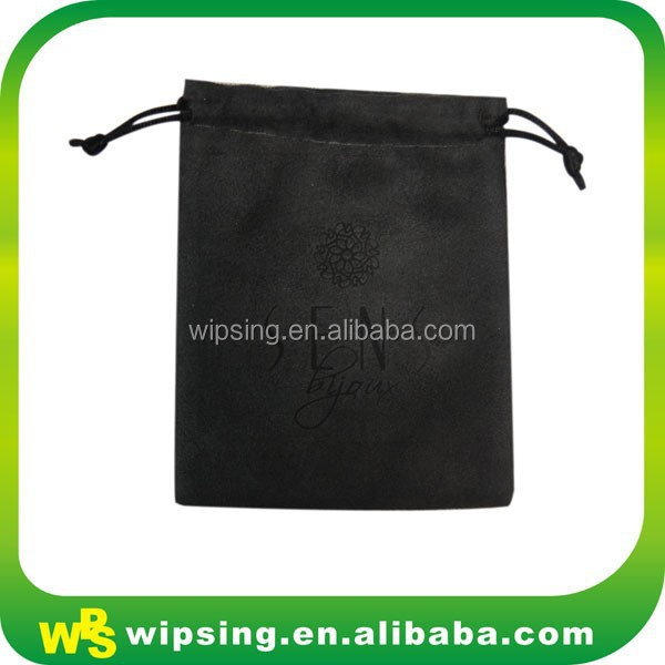 Custom logo hot transfer printed black suede jewelry bag with drawstring