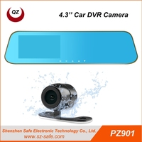 Chinese factory HD 1080P 4.3 inch 2 camera car dvr