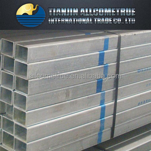 Building material/ Hollow tubes / Fence thin wall Q235 Hot dip zinc coated GI galvanized square rectangular steel pipe