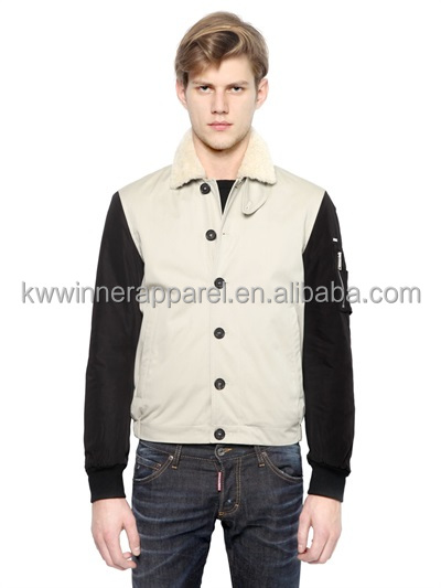 Faux Fur Collar COTTON NYLON BOMBER JACKET