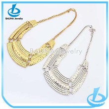 Fashion heavy multi layered shiny gold/silver plated chain hammered metal choker necklace