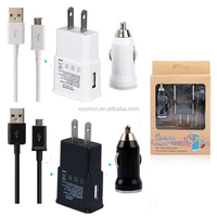 3 in 1 5V 2A EU US wall charger kits sets + Bullet car charger +micro usb cable with retail box for Samsung s4 s5