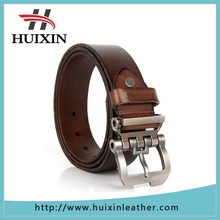 Huixin Leather Factory Gun color strong leather belts men with pin buckle