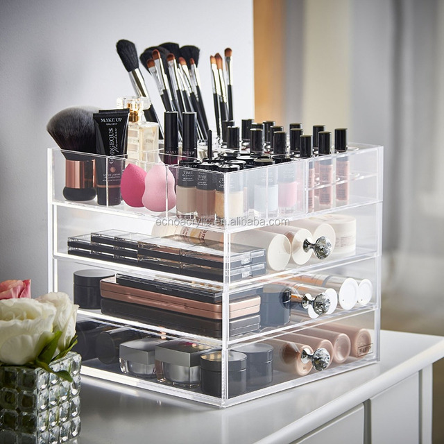 Beautify Large Clear Acrylic Cosmetic Makeup Organizer Stand with 3 Drawers, 21 Lipstick Holders & 6 Individual Upper Storage Se