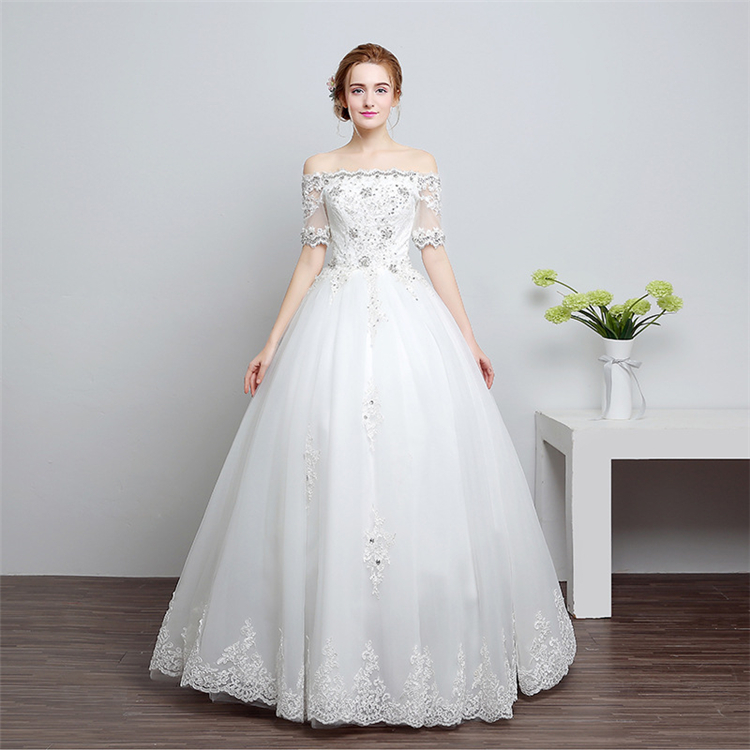 HS1605 Real Picture 2017 New Style Court Train Wedding Dress Bridal Gown