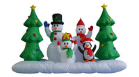240cm/8ft inflatable snowman family on snowfield with christmas tree and penguin for christmas decoration