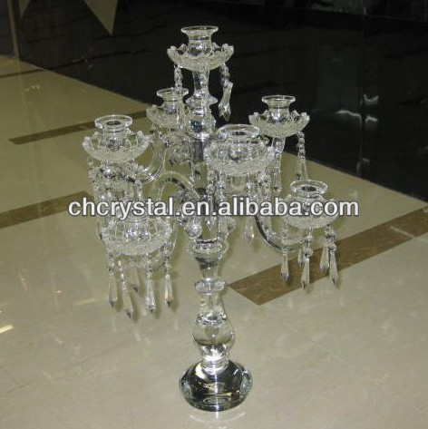 crystal hanging beaded candelabra center table, 9 arms tall wedding floral stand crystal candelabra MH-1532
