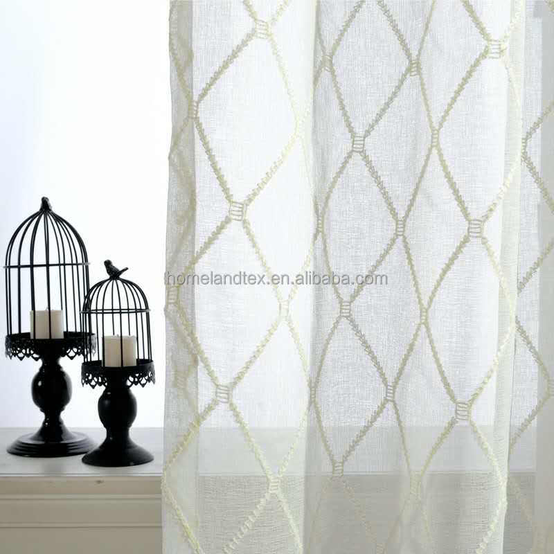 customized luxury jacquard linen fabric ready made embroidery white elegant sheer curtain