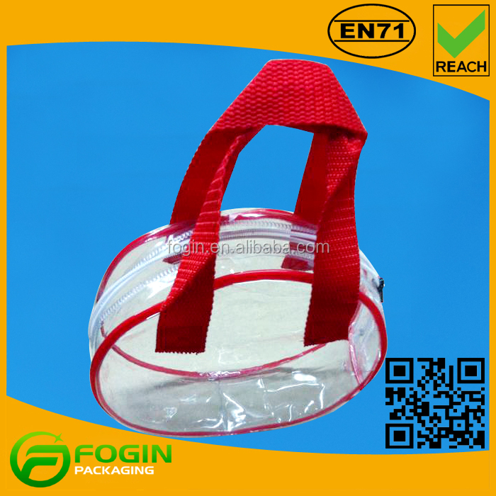 Clear PVC Handle Zipper Waterproof Beach Tote Cosmetic Sample Pouch