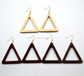 Earrings made of Sustainable Wood - Wooden Hook Dangle Drop Earrings Triangle Wood Hoop Earrings