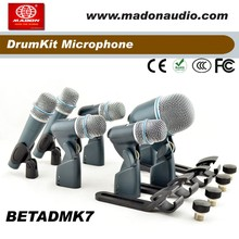 BETADMK7 , 7pcs Kits condensor drum wired microphone, BETA57A-2pcs, BETA56A-4pcs, BETA52A-1pc, shuremicrophone