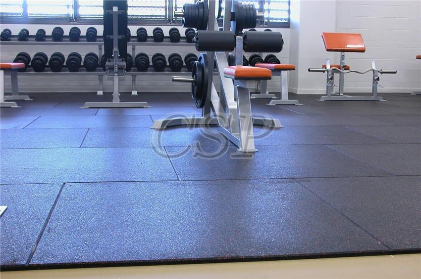 Rubber tile gym flooring