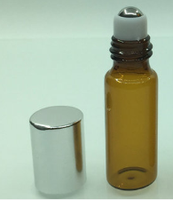 3ml empty ember glass bottle with stainless roller ball, aluminum cap