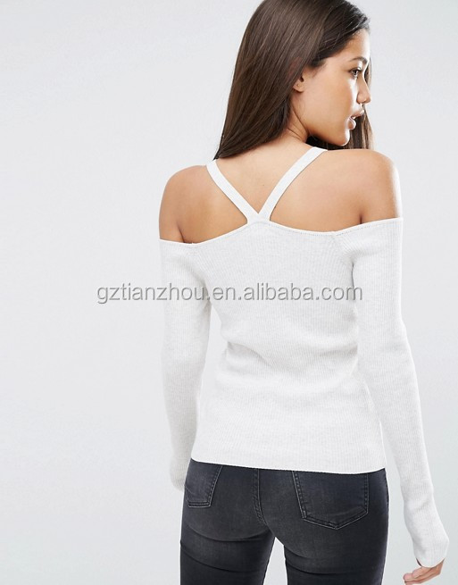 Latest Fashion Design White Woman Sweater With Strappy Cold Shoulder