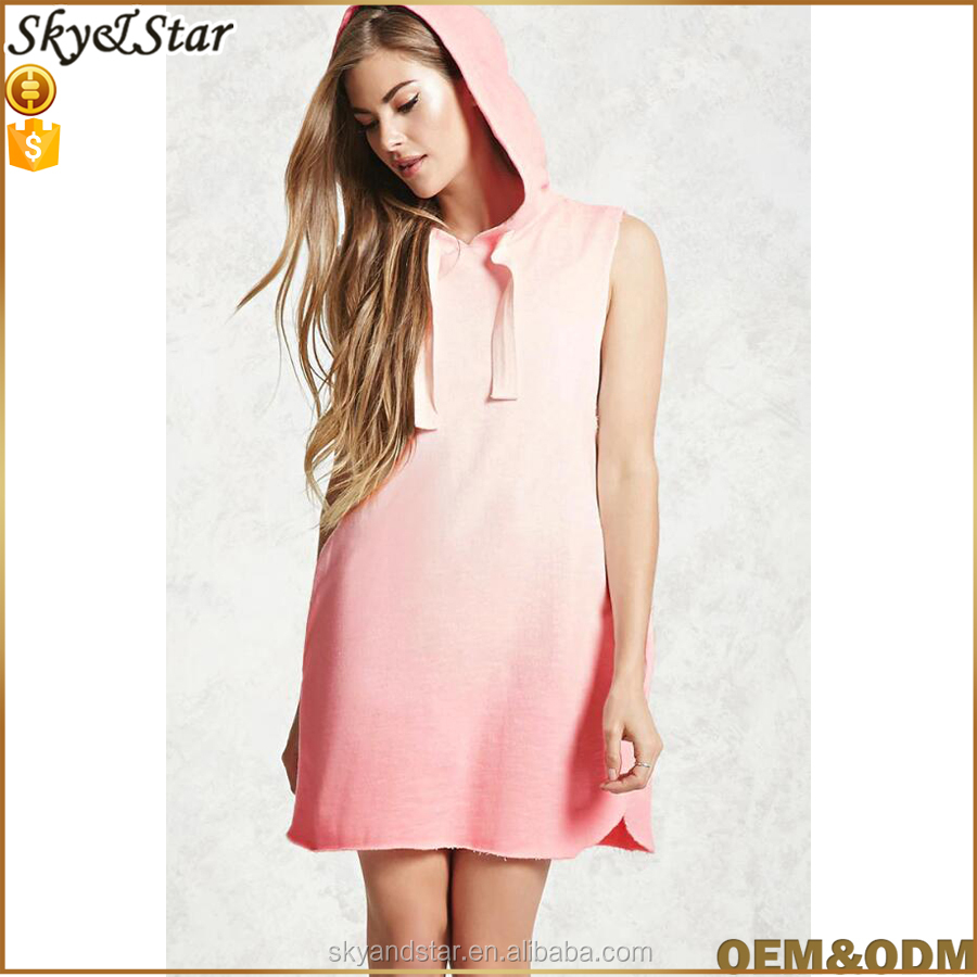 Hotsale New fashion hooded mini sport styles dress with sleeveless pockets design