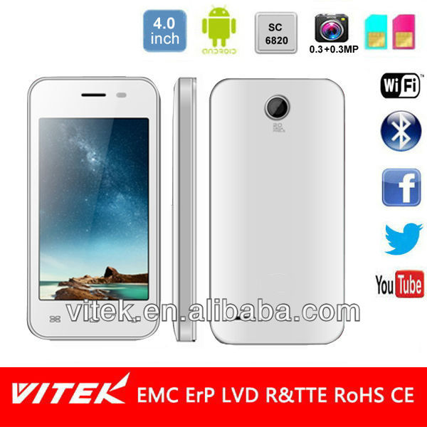 4 inch single Core Dual Sim Android Smart mobile
