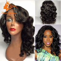 Unprocessed Brazilian Body Wave Full Lace Wig With Remy Human Hair Side Bun Natural Finger Wave Dreadlock Wig For Women