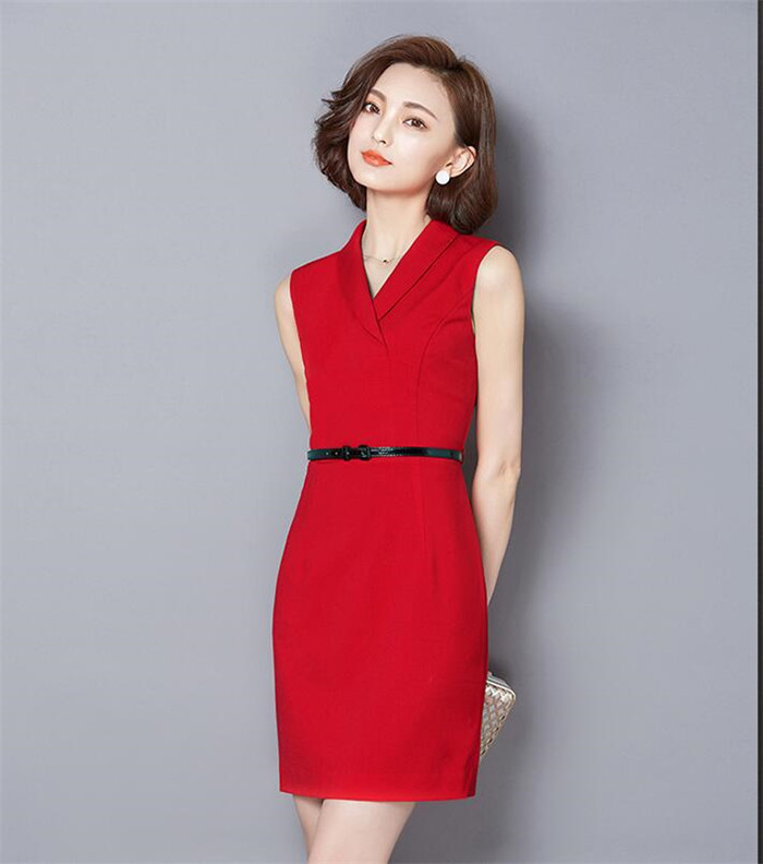 OEM service latest design ladies office dress wear clothing elegant formal dress with belt