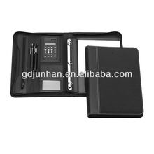 Zip ring binder business leather portfolio