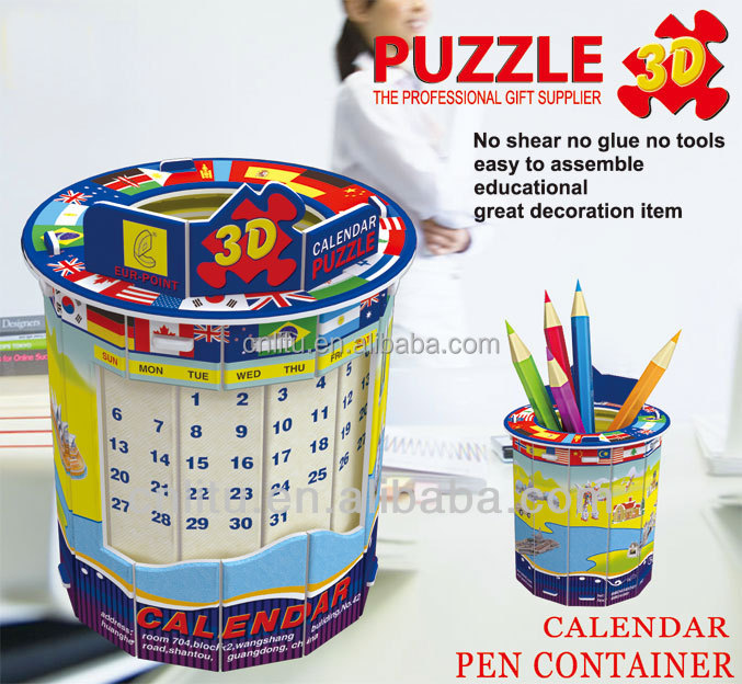 2016 pen holder puzzle with calendar DIY puzzle Calendar puzzle practical nice desk decoration
