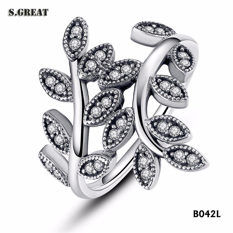 925 sterling silver opening rings jewelry with diamond small finger rings fit pandora silver rings for Ladies