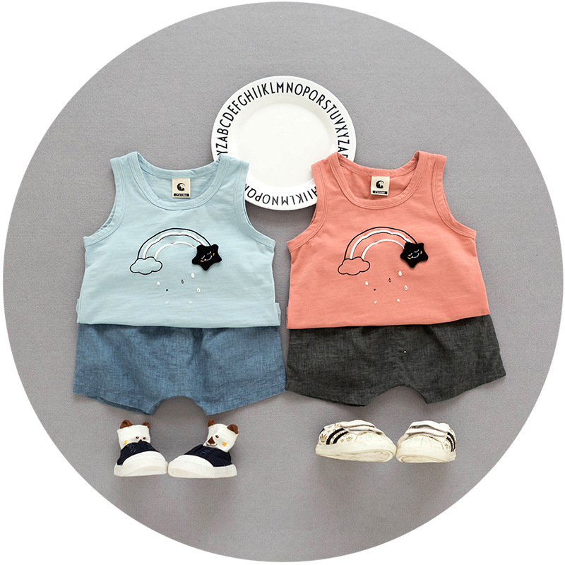 S33407W Baby Cotton sleeveless vest top tanks + kids shorts two-piece boys sport suits