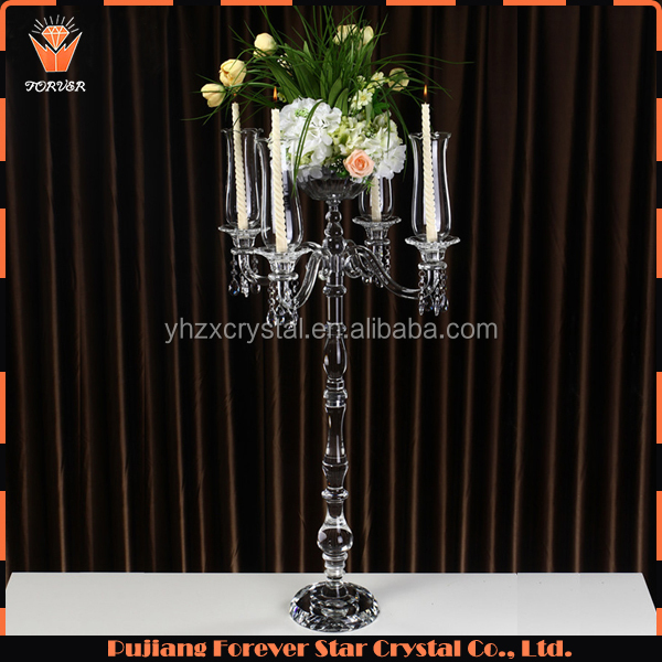 hot selling tall hanging crystal decorative floor candelabras with flower bowl for weddings