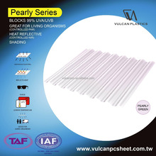 Solar Polycarbonate Sheet perfect for living organism (Pearly GREEN series)