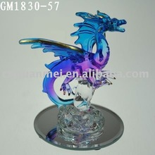 glass western dragon on mirror face