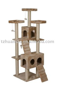 carb-certified large cat tree condo funiture beige color