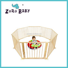 Natural Wooden Hexagonal Baby Playpen Safety Pen