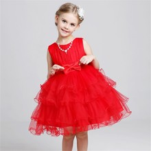 Wholesale Layered Baby Frock Design Kids Frilly Puffy Birthday Party Dress L-58