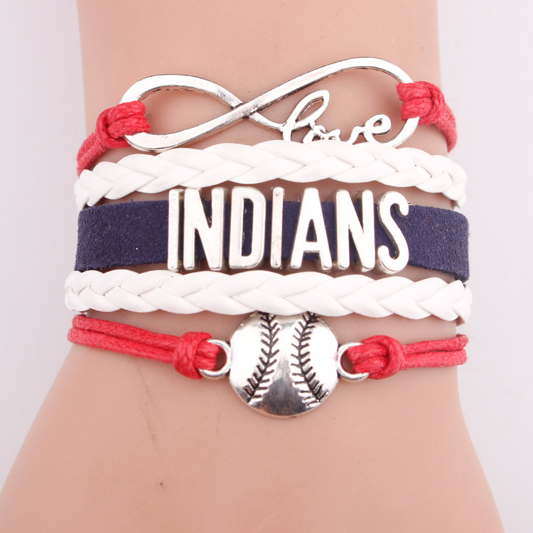 Manual leather accessories popular baseball team letter indians bracelets